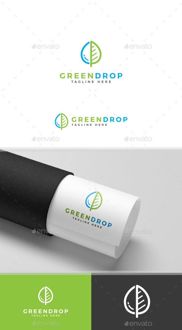 Green Leaf and Water Drop Logo