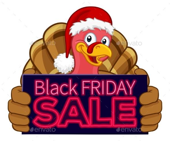 Black Friday Sale Turkey In Santa Hat Cartoon