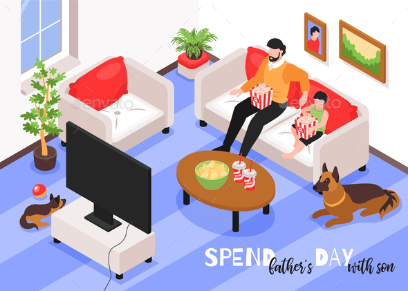 Fathers Day Isometric Background