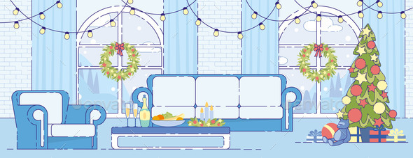 Christmas Holiday Home Interior Decor Flat Vector