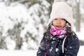 Winter portrait of a little Asian girl in snow - PhotoDune Item for Sale