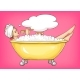 Young Woman Singing in Bathtub - GraphicRiver Item for Sale