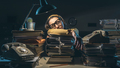 Stressed exhausted businesswoman sleeping on a pile of paperwork - PhotoDune Item for Sale