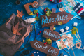 Road sign with Adventure, Unknown and Quiet Life directions. Travel essentials creative header - PhotoDune Item for Sale