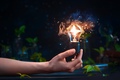 Lightbulb with a butterfly inside in a hand. Merging science and magic - PhotoDune Item for Sale