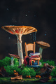 Tiny chair with plaid and a stack of books under a gigantic mushroom with moss and raindrops - PhotoDune Item for Sale
