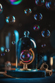 Soap bubble in a globe frame under a glass dome. Ecology and climate change concept. - PhotoDune Item for Sale