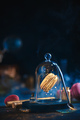 Precious golden macaron cookie under a glass dome. Pastry art, conceptual food photography - PhotoDune Item for Sale
