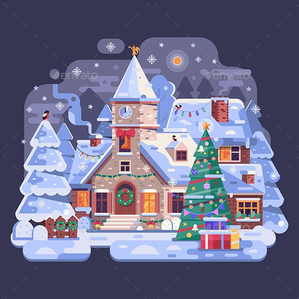 Holidays Christmas Church in Winter Village Night Scene