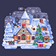 Holidays Christmas Church in Winter Village Night Scene - GraphicRiver Item for Sale