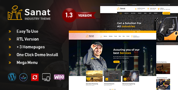 Sanat - Factory & Industry WordPress Theme