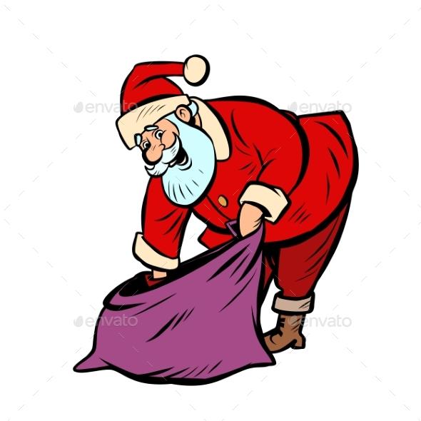 Gift Bag Santa Claus Character Christmas New Year