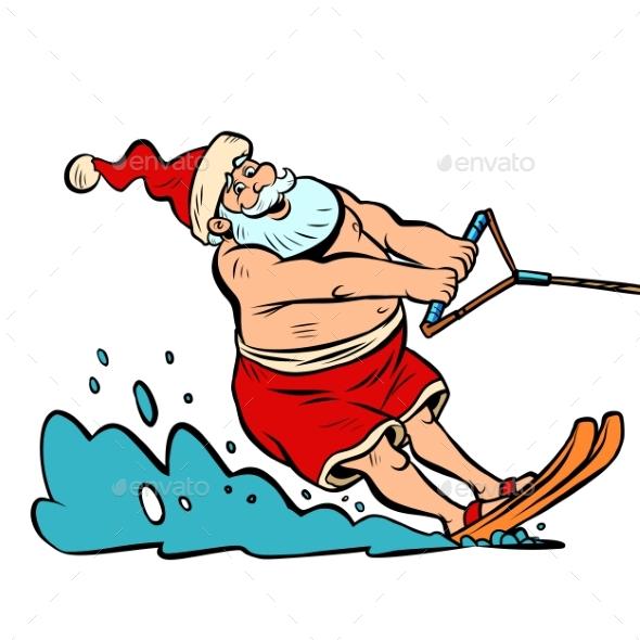 Summer Vacation Water Skiing Santa Claus