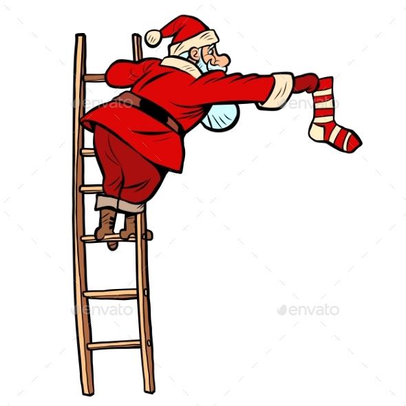 Sock Gift. Santa Claus Character Christmas New