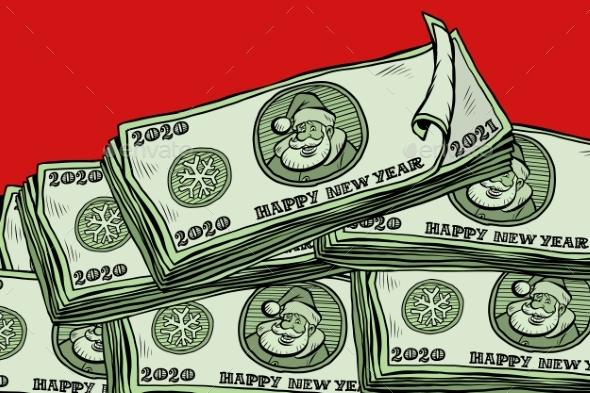 Money Cash Annual Bonus Santa Claus Character