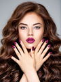 stunning woman with  purple lipstick on lips and fingernails. - PhotoDune Item for Sale