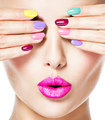 woman  with colored nails and pink lips - PhotoDune Item for Sale