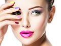 beautiful woman  with multicolor nails and fashion makeup - PhotoDune Item for Sale
