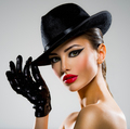 Сlose-up portrait of a woman in a black hat and gloves with red - PhotoDune Item for Sale