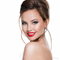 face of beautiful expressive woman with red lipstick on the lips - PhotoDune Item for Sale