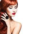 Beautiful sensual woman with long red hair. - PhotoDune Item for Sale