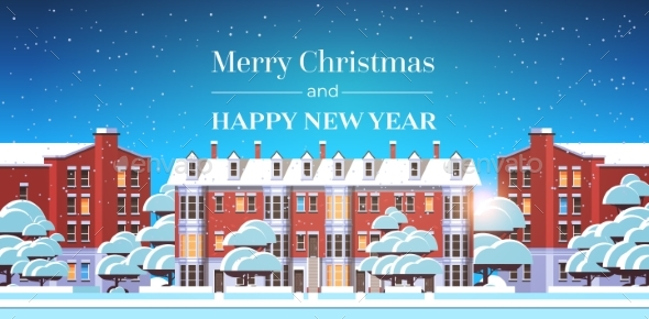 Merry Christmas Happy New Year Poster with Winter