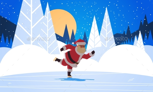Santa Claus Skating Merry Christmas Happy New Year