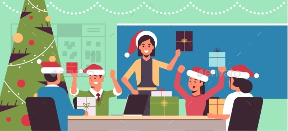 Business People Celebrating Merry Christmas and