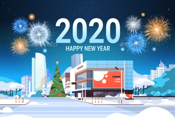 Merry Christmas Happy New Year Poster Colorful