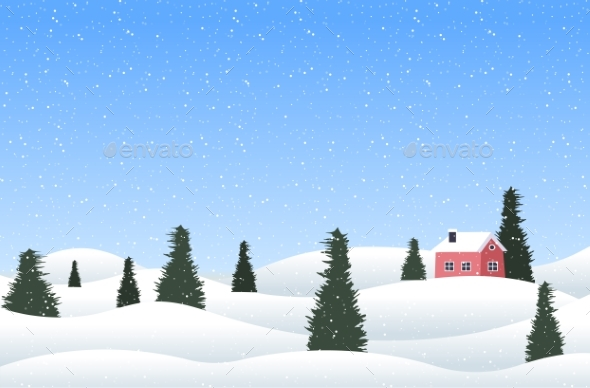 Christmas Winter Countryside Landscape with Pines