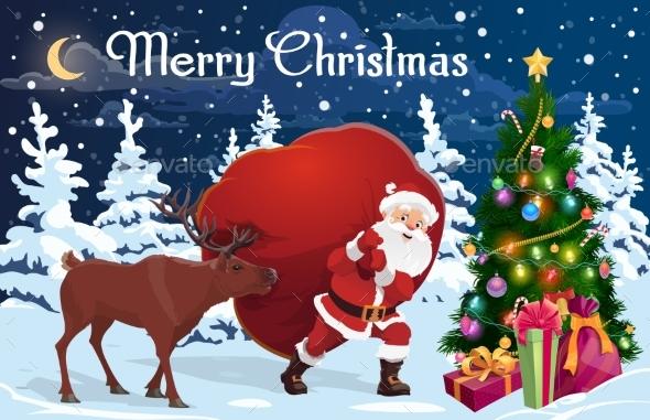 Santa and Deer with Bag of Christmas Gifts