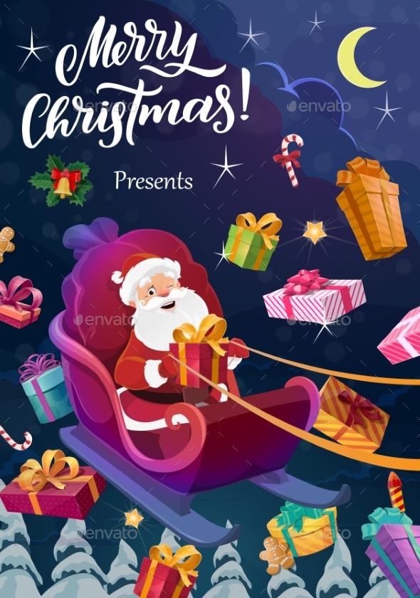 Santa with Christmas Gifts Flying on Sleigh