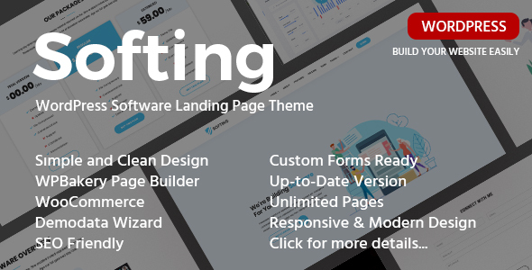 Softing - Responsive Software Landing Page WordPress Theme