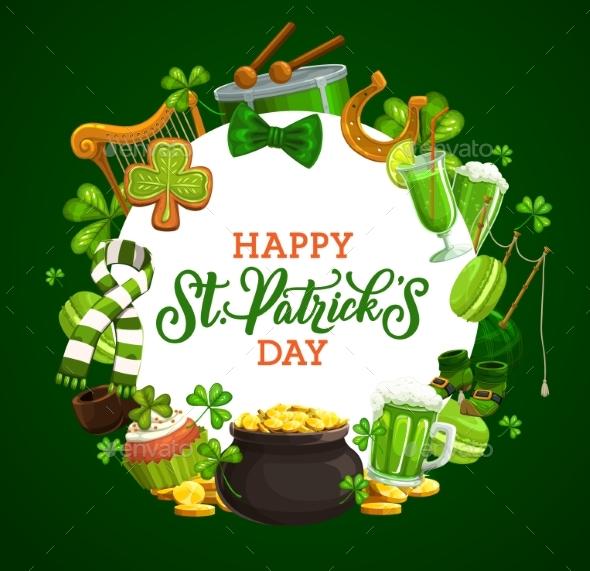 Green Shamrock and Saint Patrick Holiday Icons