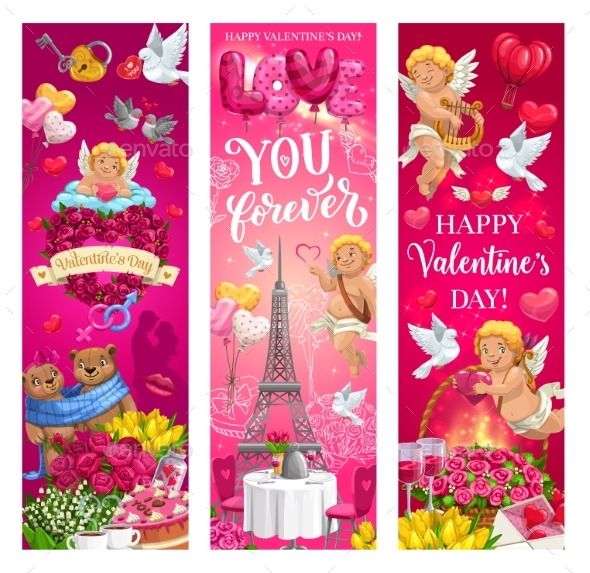 Valentines Day Romantic Couple, Hearts and Cupids