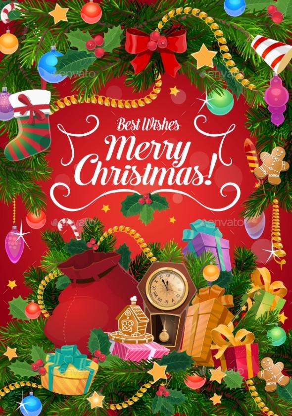 Christmas Gifts and Clock. Xmas Garland