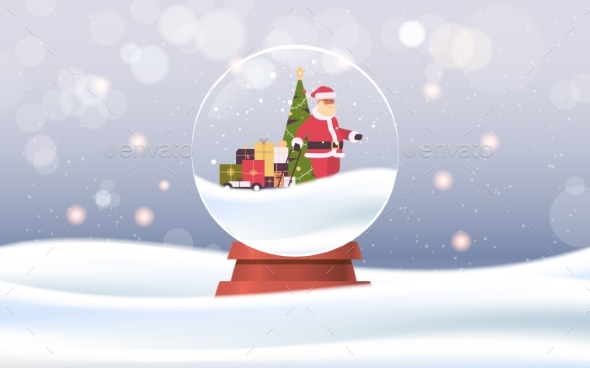 Santa Claus Pulling Trolley Cart with Gift Boxes