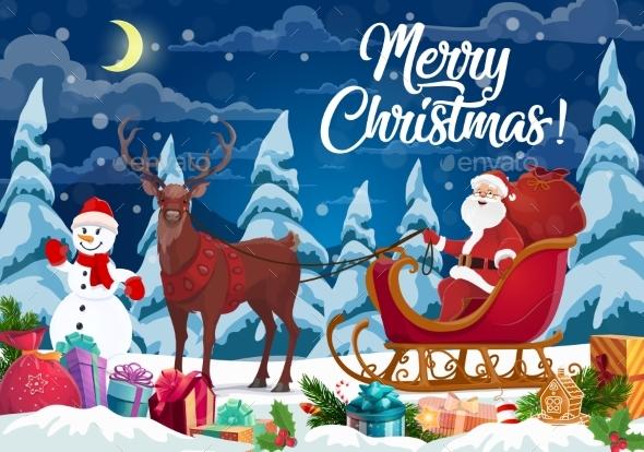 Santa and Christmas Gifts on Reindeer Sleign