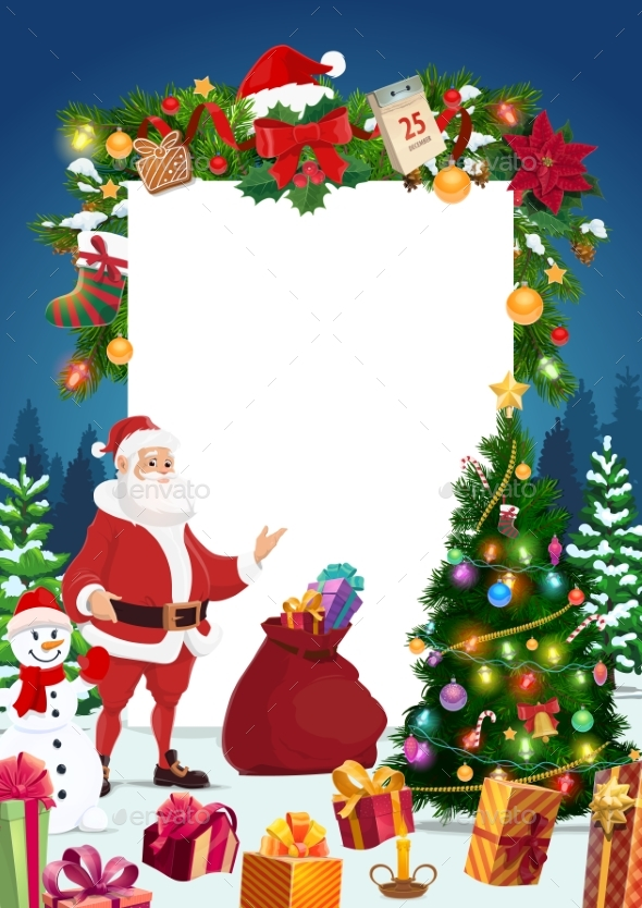 Santa, Snowman with Christmas Tree and Signboard