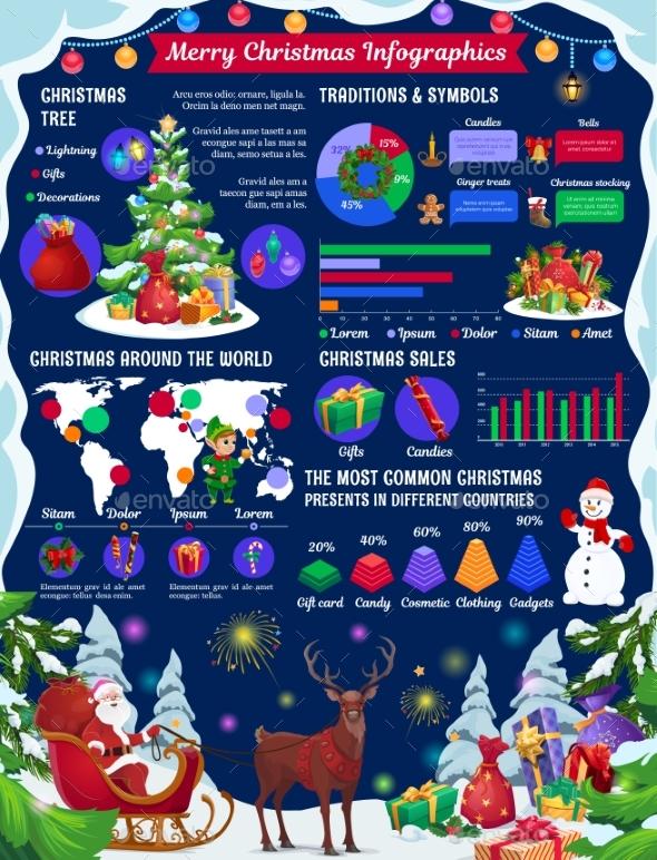 Christmas Infographics with Xmas Tree, Gift Charts