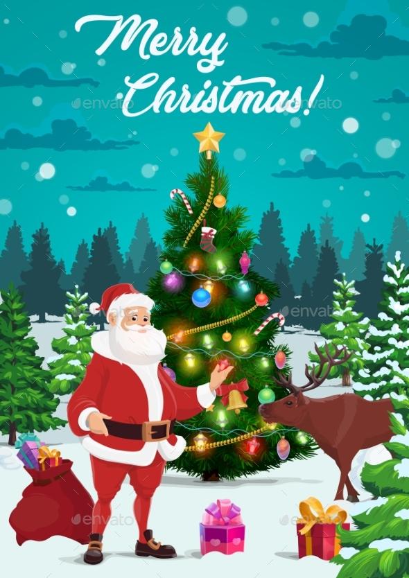 Christmas Tree with Santa, Xmas Gifts and Reindeer