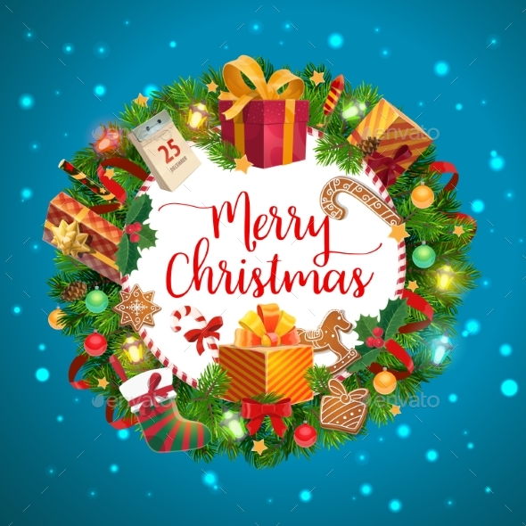Christmas Tree, Gifts and Presents Wreath