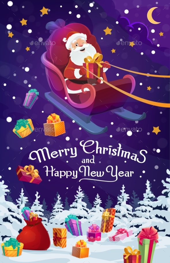 Santa Sleigh with Chistmas and New Year Gifts
