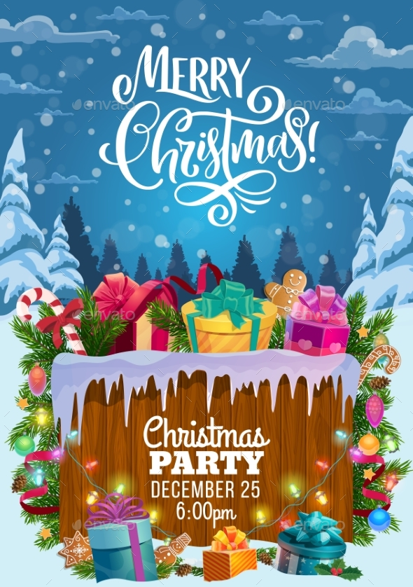 Christmas Gifts on Snow. Xmas Party Invitation