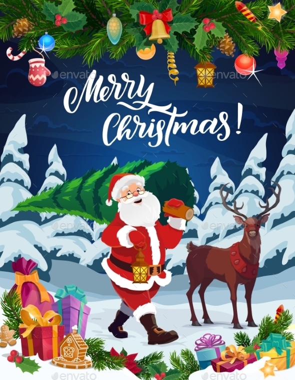 Santa with Christmas Tree, Reindeer and Xmas Gifts