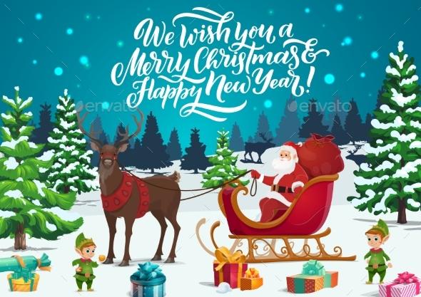 Christmas Sleigh with Santa, Elves and Xmas Gifts