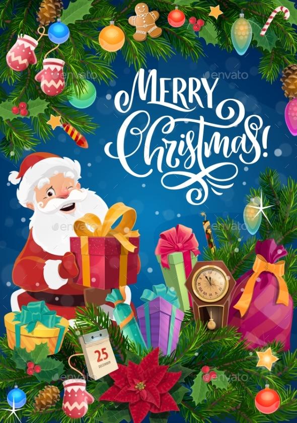Santa with Christmas Gifts and Xmas Tree Garland