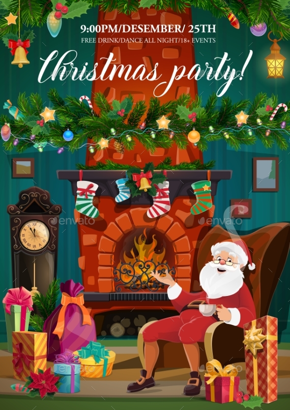 Santa Claus, Christmas Fireplace and Xmas Gifts