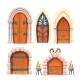 Medieval Castle Dungeon Door Cartoon Vector Set - GraphicRiver Item for Sale