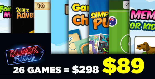 Black Friday - Mega Bundle 26 Games - HTML5 Games